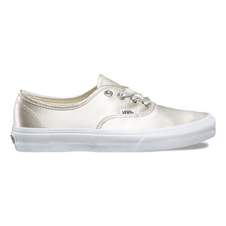 Vans Authentic (Satin Lux) Light Silver True White | Footshop